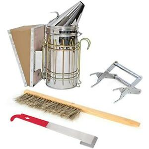 Beekeeping Tool Sets Starter Kit Of 4 With Hive Smoker Brush Frame Grip And