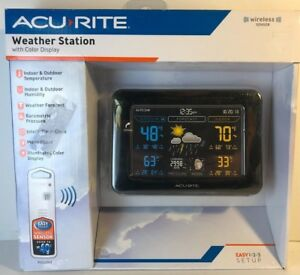 Acurite Digital Color Temperature Humidity Weather Station Dark Theme 02027a1