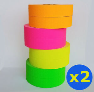 2 X Monarch 1131 Price Gun Pink Green Orange Yellow Fluorescent 4 Rolls Ea W Ink
