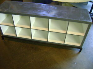 Retail Grey White Cube Storage Display Table Cabinet