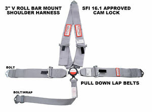 Gray Safety Harness Sfi 16 1 Racing 5 Point V Mount 3 Cam Lock Seat Belt