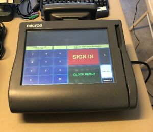 Micros Pos E7 Workstation W Stand And Printer Used