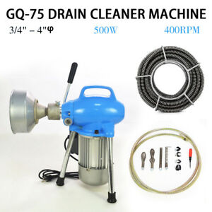 3 4 4 Dia Sectional Electric Pipe Drain Cleaner Machine 99ft Max Length Top