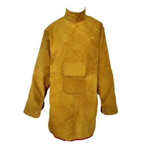 Flame Resistant Leather Welding Apron coat Anti scald Wear resistant For Men