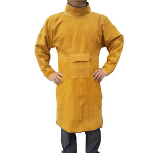 47 2 Long Leather Welding Apron Heat Insulation Protection Gear Safety Clothes
