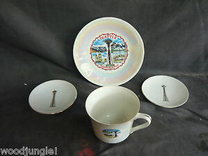 Mid Century Modern Space Needle Dishes Coasters Coffee Cup 1 Worlds Fair Seattle