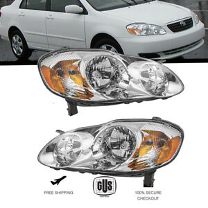 For Toyota Corolla 03 08 Black Headlights Set Headlamps Lights Pair 2003 2008