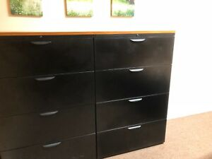 4dr 36 w Lateral Size File Cabinet In Black Finish Laminate W Cherry Top