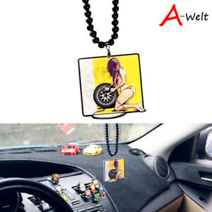 Hot Girl Wheel Tire Car Rearview Mirror Hanging Charm Dangling Pendant Ornament