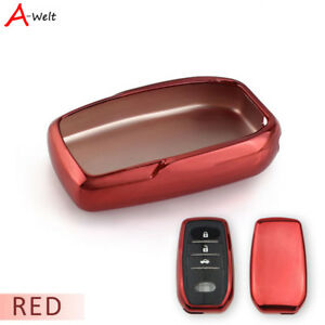 Red Tpu Remote Smart Key Cover Case Shell For Toyota Corolla Camry Crown Etc