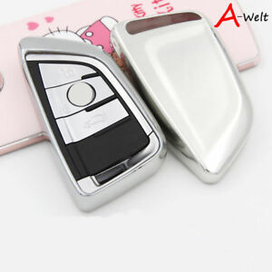 Silver Tpu Remote Smart Key Cover Fob Case Shell For Bmw 1 2 5 7 Series X1 X5 X6