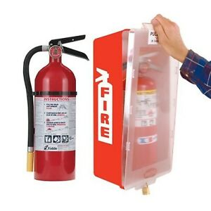 Fire Extinguisher With Cabinet Red Tub clear Cover Kidde