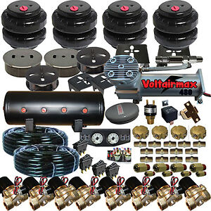 Air Suspension Kit bags valves tank pswitch airline compress gauge