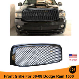 Fit 2006 2008 Dodge Ram 1500 Front Mesh Bumper Grille Gloss Black New Oe Style