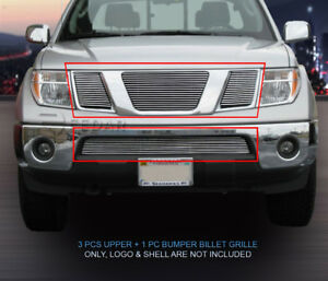 Billet Grille Front Grill Combo Fit 2009 2015 Nissan Pathfinder Frontier