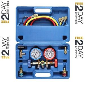 New 3 Way Ac Diagnostic Manifold Gauge Set For Freon Charging Top