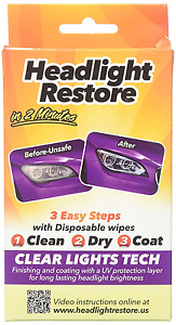 Headlights Restoration Kit Clear Lens Disposable Cleaning Wipes Uv Protection