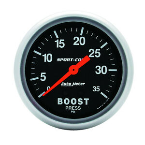 Autometer 3404 Sport comp Boost Pressure Gauge 2 5 8 In Mechanical