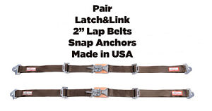 Rv New Pair 2 Latch Link Seat Belt 2 Point Snap Clip In Lap Belts Brown