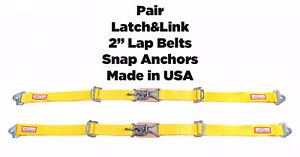 Rdn New Pair 2 Latch Link Seat Belt 2 Point Snap Clip In Lap Belts Yellow