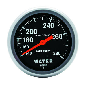 Autometer 3431 Sport Comp Water Temp Gauge 2 5 8 In Mechanical