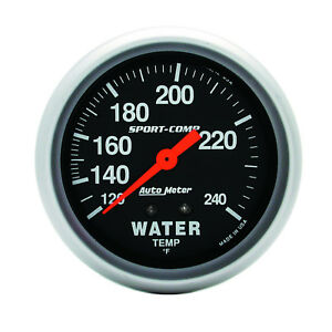 Autometer 3432 Sport Comp Water Temp Gauge 2 5 8 In Mechanical