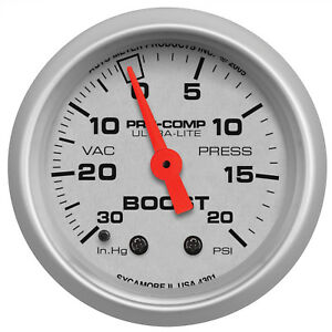Autometer 4301 Ultra Lite Vacuum Boost Gauge 2 1 16 In Mechanical