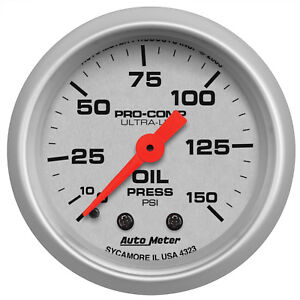 Autometer 4323 Ultra Lite Oil Pressure Gauge 2 1 16 In Mechanical