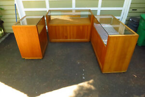 Solid Oak Jewelry Display Cases Set Of Three
