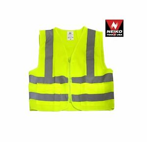 10 Pc Set Xl safety Traffic Control Vest Neon Yellow W 2 Pockets And Zipper
