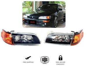For Toyota Corolla Jdm Year 93 To 97 Headlights Glass Lenses Black Housing 4pcs