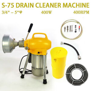 3 4 5 Pipe Drain Cleaner Cleaning Machine 99ft Max Length Snake Sectional