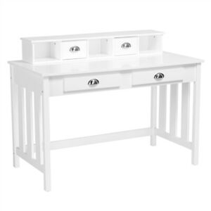 Writing Study Desk Computer Workstation Dressing Table W 4 Storage Drawers white