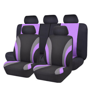 Car Seat Cover Purple New 11pcs Automobile Universal Fit 40 60 50 50 Split Bench