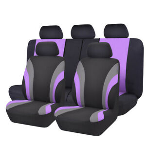 New 11pcs Automobile Purple Universal Fit Car Seat Covers Set 40 60 50 50 Split