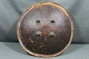 Antique Lacquered Hide Dhal Shield India 18th 19th Century