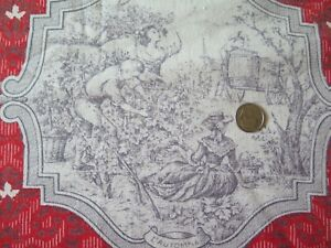 Vintage French 1940s Red Gray Four Season Cotton Toile Fabric 38 L X 26 W