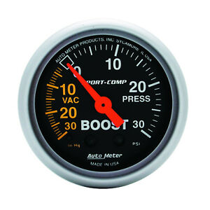 Autometer 3303 Sport comp Boost vacuum Gauge 2 1 16 In Mechanical