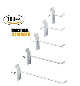 White Slatwall Hooks Combo Pk Of 100 Assorted Sizes 20 Of Ea 2 4 6 8