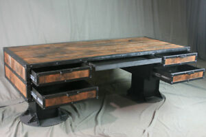 Vintage Industrial Wooden Desk With Drawers Reclaimed Wood Desk With Storage