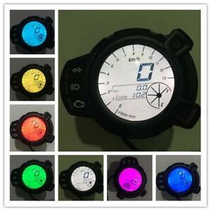 7 Color Motorcycle Light Lcd Digital Gauge Speedometer Odometer Tachometer Meter