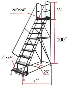 Tri arc 10 step 20 Deep Top Steel Rolling Industrial Warehouse Ladder