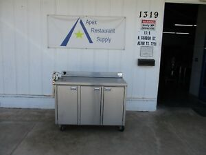 Stainless 48 Work prep Table W cabinet backsplash casters 3294