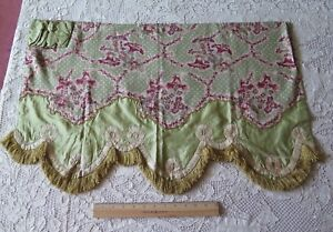 Antique French Pillement Design Linen Silk Ribbonwork Window Valance 16 Lx31 W