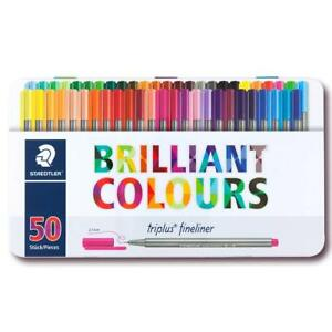 Staedtler Triplus Fineliner Pens Metal Tin Containing 50 Assorted Colors 334