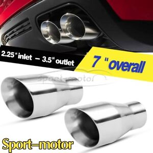 2x Dual Layer Slant Exhaust Tip 2 25 Inlet 3 5 Outlet Stainless Steel Tail Pipe