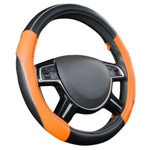 Orange Color Pu Leather Car Steering Wheel Cover Car Accessories Fit Most Cars