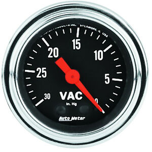 Autometer 2484 Traditional Chrome Vacuum Gauge 2 1 16 In Mechanical