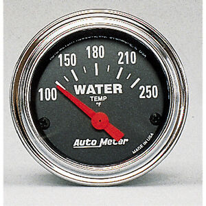 Autometer 2532 Traditional Chrome Water Temperature Gauge 2 1 16 In Electric