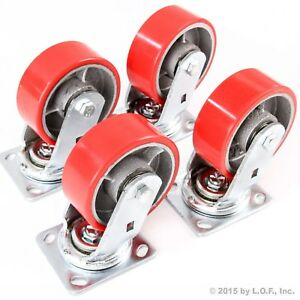 4 Red Wheel Caster Set 5 Wheels All Swivel Heavy Duty Iron Hub No Mark Casters